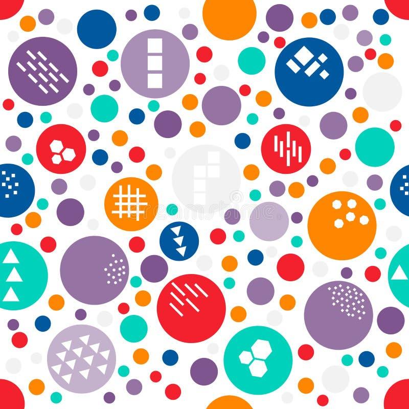 Às bolinhas aleatório colorido do teste padrão sem emenda do tamanho diferente com textura de formas geométricas diferentes: triâ ilustração stock