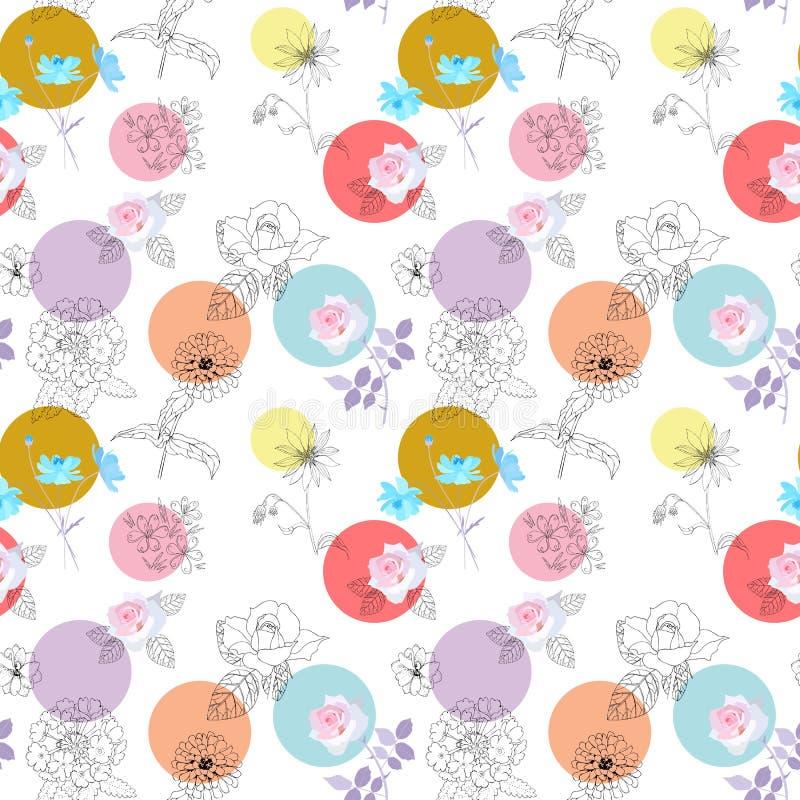 Às bolinhas engraçado e flores de jardinagem no fundo branco Teste padrão sem emenda bonito ilustração stock