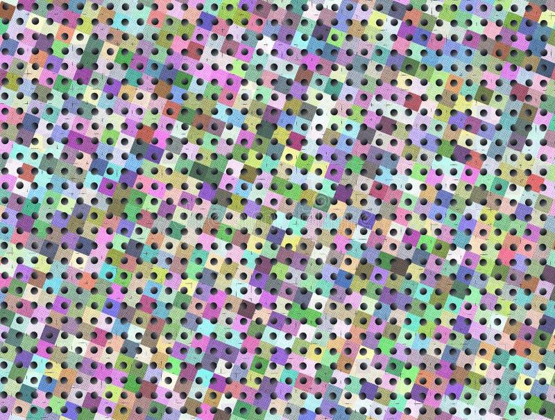 Às bolinhas pretos pequenos sem emenda, fundo colorido dos quadrados ilustração do vetor