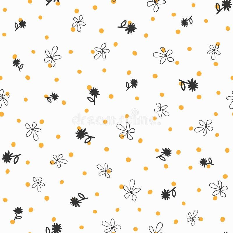 Às bolinhas repetido e flores irregulares tirados à mão Teste padrão sem emenda floral ilustração stock