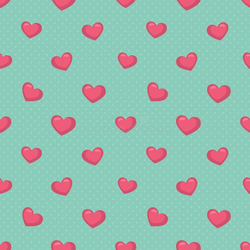 Às bolinhas verde retro com ilustração sem emenda do vetor do teste padrão dos corações do rosa ilustração stock