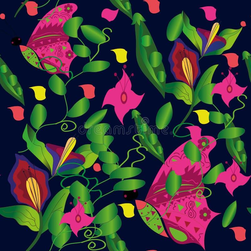 Às bolinhas vermelho da flor de borboleta do teste padrão ilustração stock
