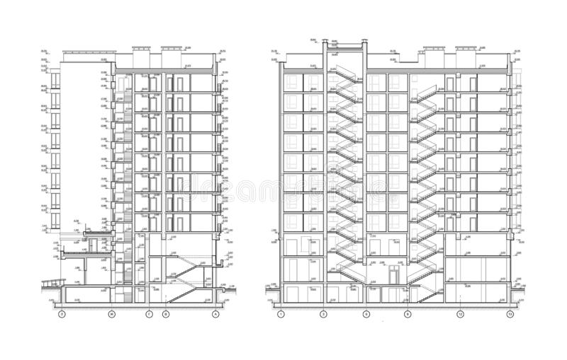 Multistory building section, detailed architectural technical drawing, vector blueprint vector illustration