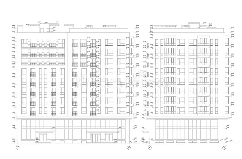 Multistory building section, detailed architectural technical drawing, vector blueprint royalty free illustration