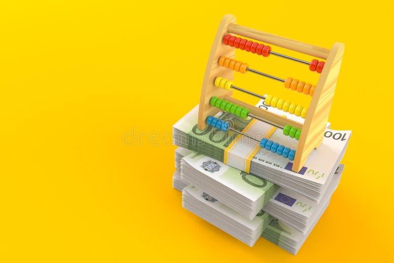 Ábaco de madera en la pila de dinero stock de ilustración