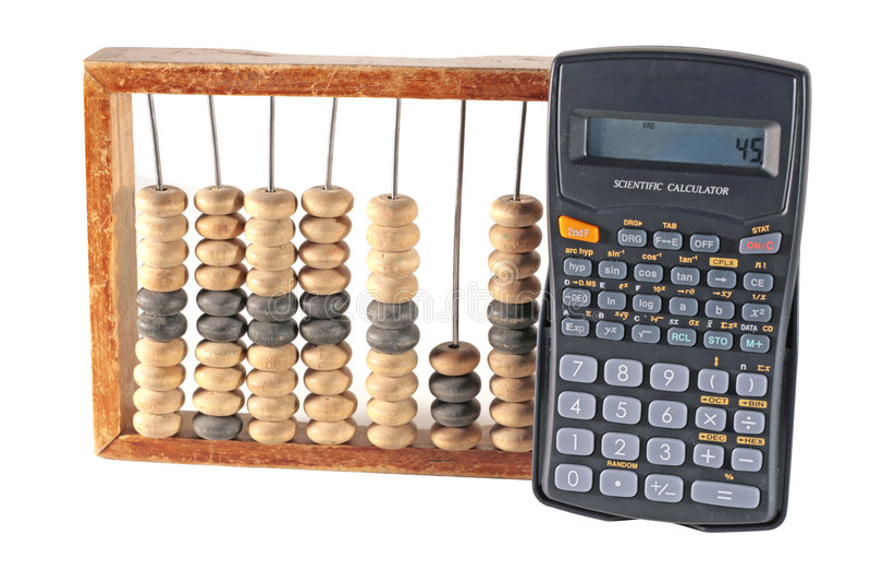 Ábaco e calculadora fotos de stock