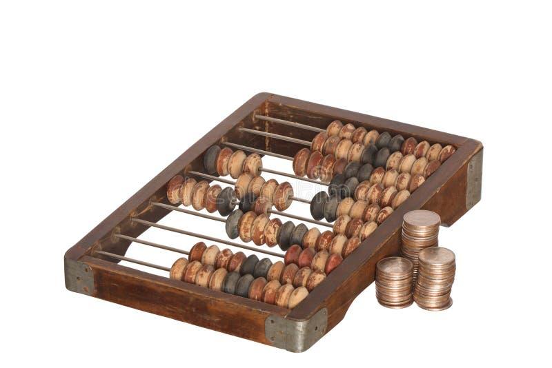 Ábaco e moedas fotos de stock royalty free