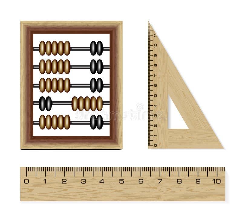 Ábaco e réguas de madeira ilustração royalty free