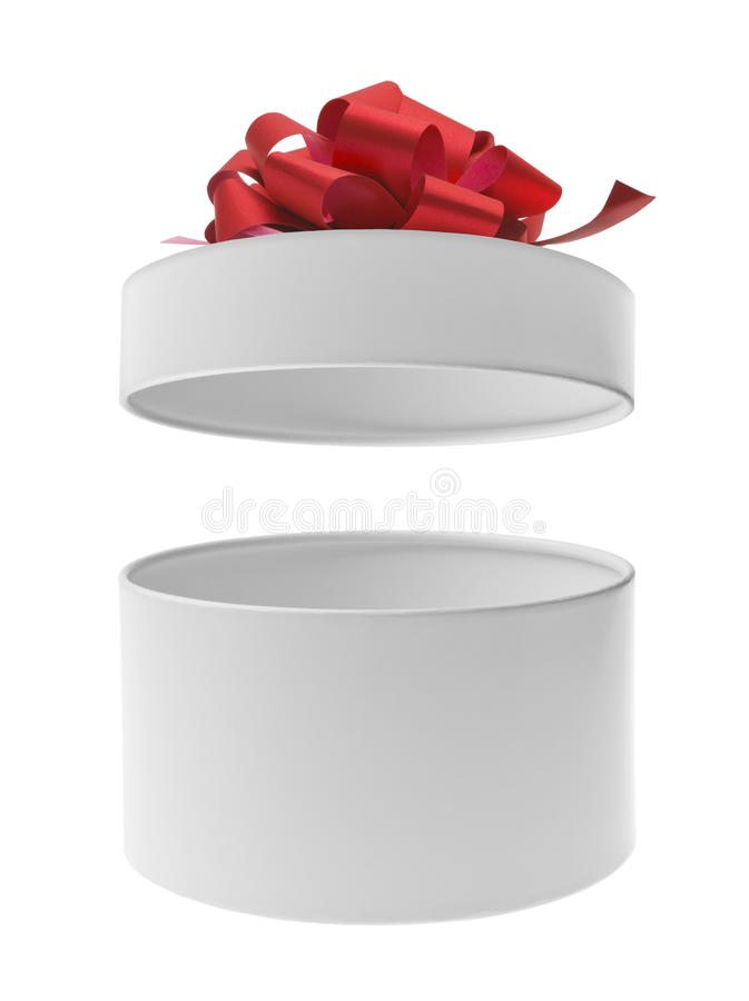 Ábrase alrededor de la caja de regalo con el arco rojo de la cinta imagen de archivo