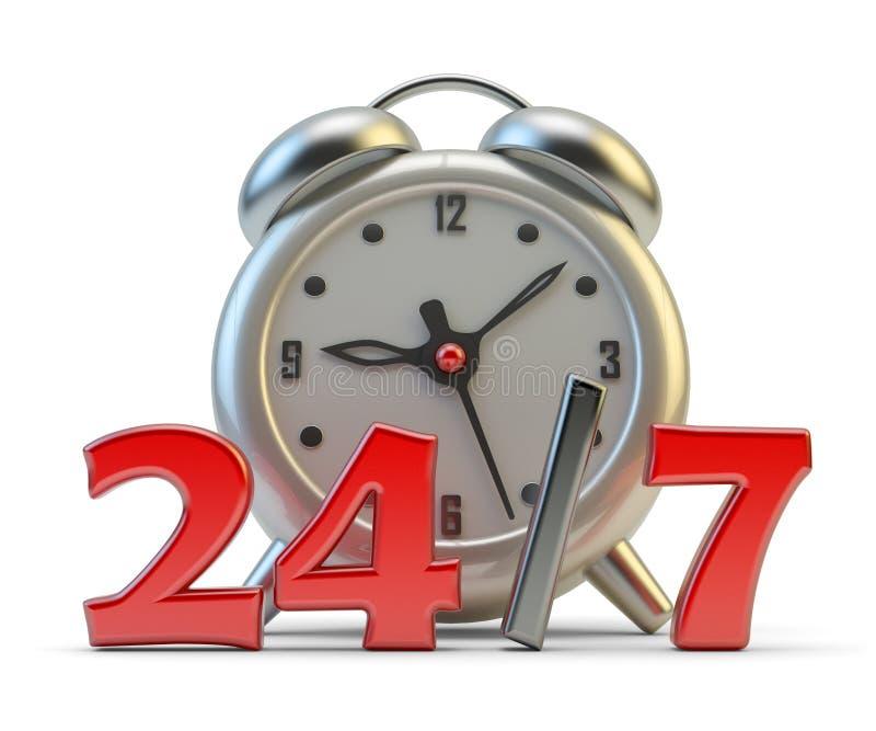 Ábrase las veinticuatro horas del día y concepto a tiempo completo del servicio ilustración del vector