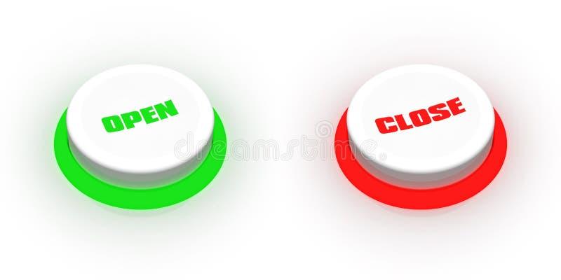 Ábrase/los botones cercanos ilustración del vector
