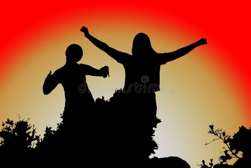 Ábrase los brazos, silueta de las mujeres en la puesta del sol stock de ilustración
