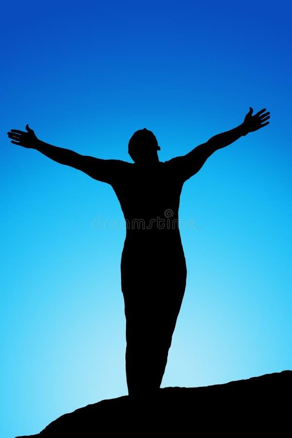 Ábrase los brazos, silueta de los hombres en la puesta del sol ilustración del vector