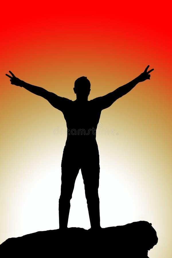 Ábrase los brazos, silueta de los hombres en la puesta del sol libre illustration