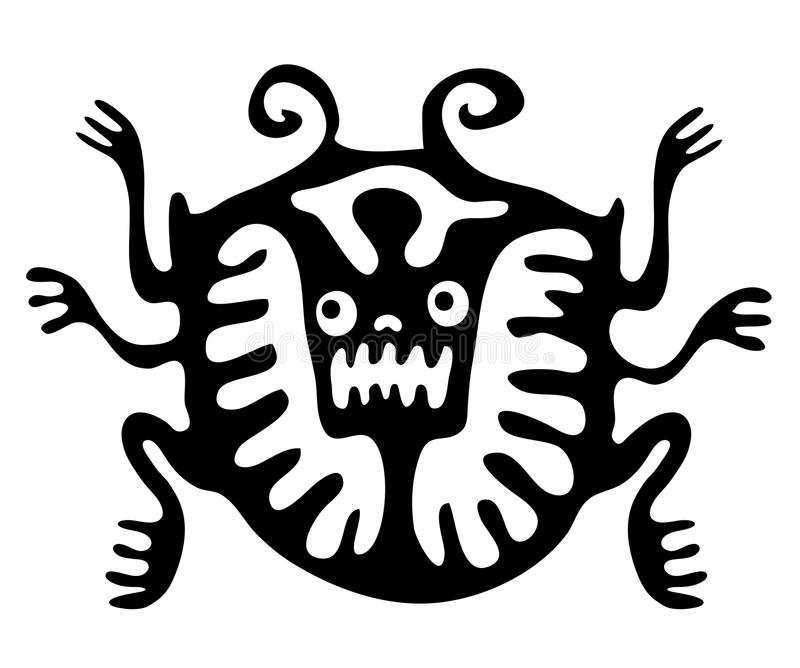 Ácaro ou besouro no estilo nativo, vetor ilustração stock