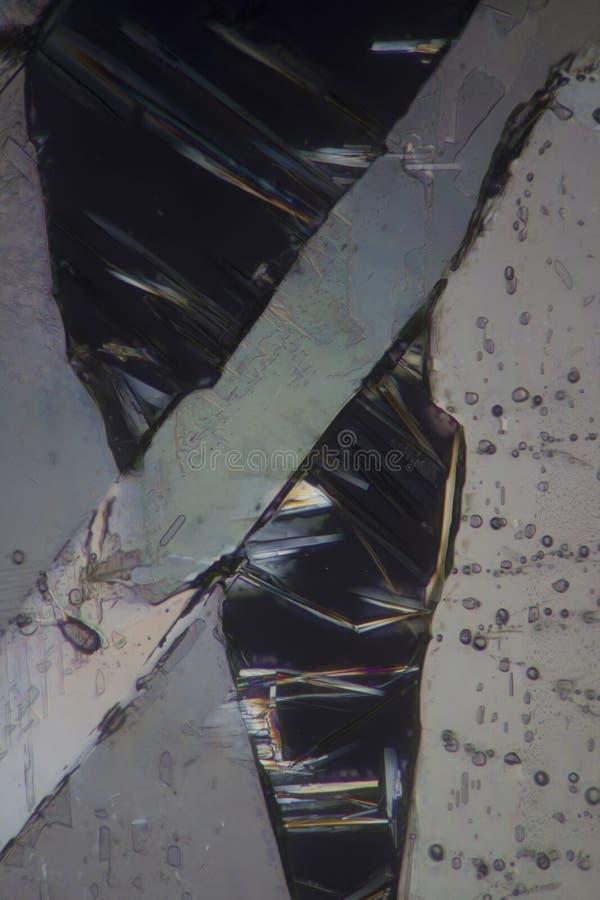 Ácido benzoico debajo del microscopio foto de archivo libre de regalías