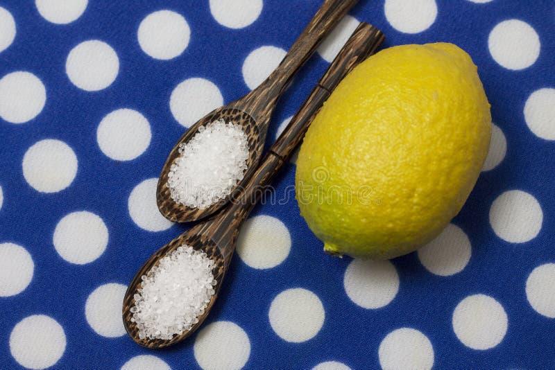 Ácido cítrico en cucharas de madera abigarradas, primer foto de archivo libre de regalías