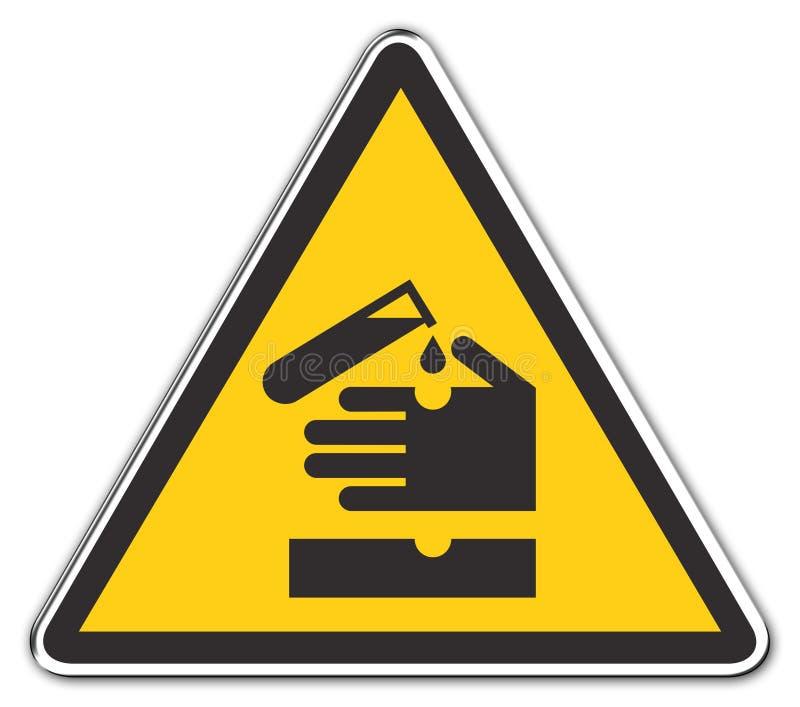 Ácido de advertência ilustração stock