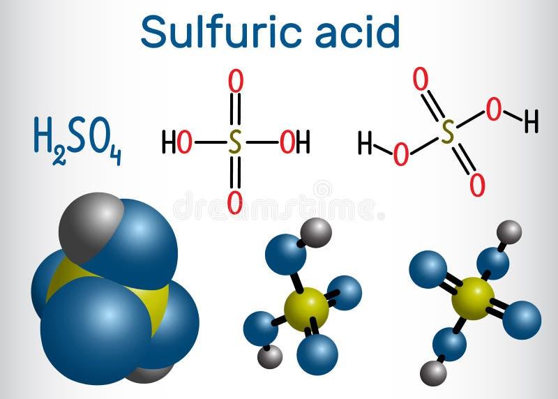 Ácido sulfúrico sulfúrico, molécula H2SO4 É mineiro forte ilustração stock