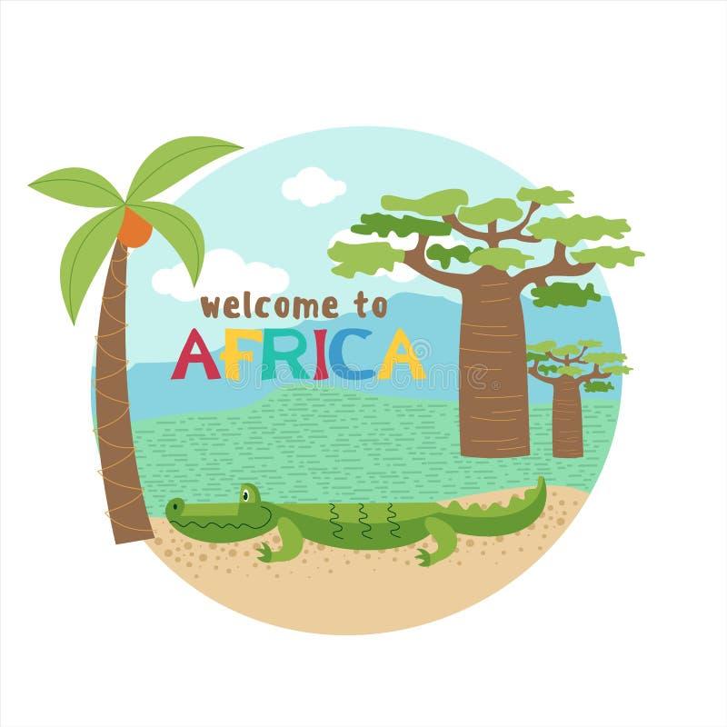 África Animales y plantas africanos El cocodrilo debajo del árbol del baobab Ejemplo del vector en estilo de la historieta ilustración del vector