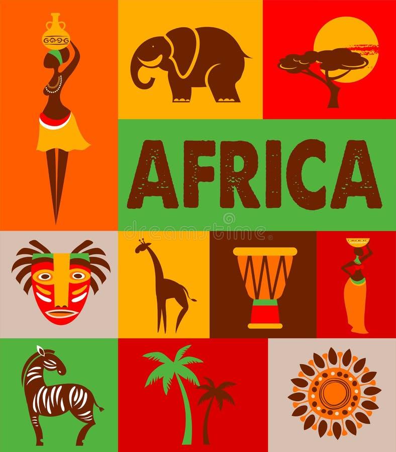 África - cartel y fondo stock de ilustración