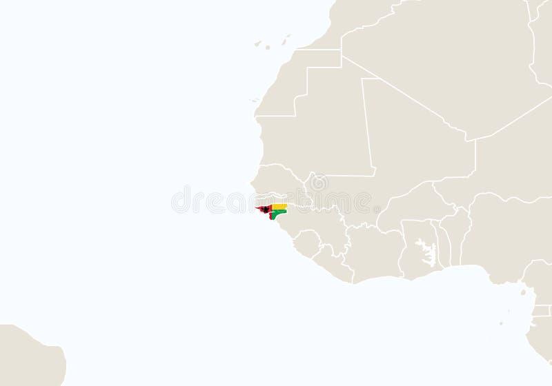 África com o mapa destacado de Guiné-Bissau ilustração royalty free