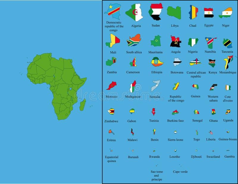 África com todas as bandeiras ilustração royalty free