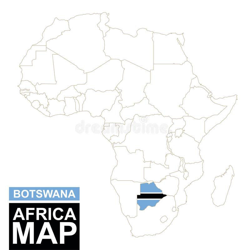 África contornou o mapa com Botswana destacado ilustração do vetor