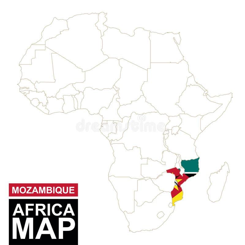 África contornou o mapa com Moçambique destacado ilustração stock