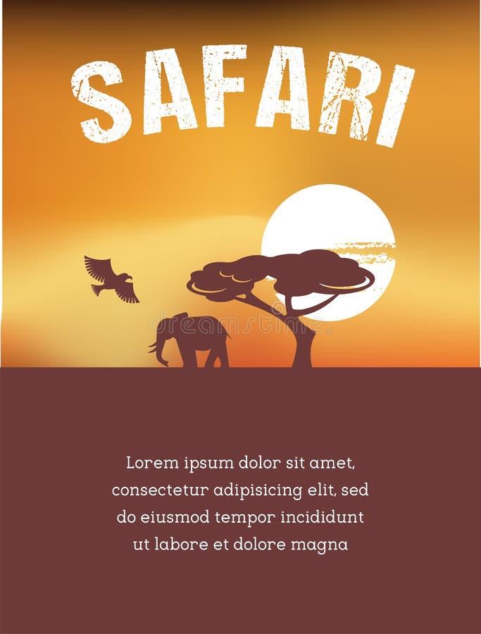 África, diseño del cartel del safari stock de ilustración