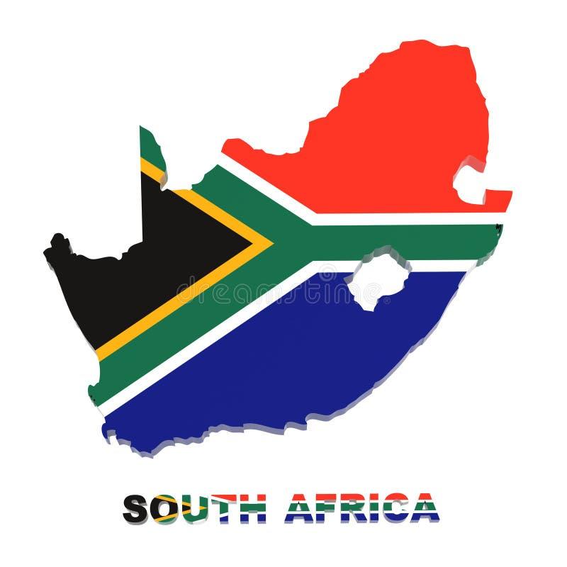 África do Sul, mapa com bandeira, com trajeto de grampeamento ilustração do vetor
