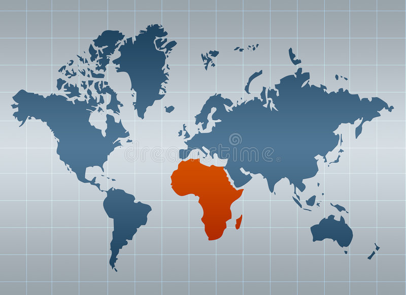 África en la correspondencia del mundo ilustración del vector