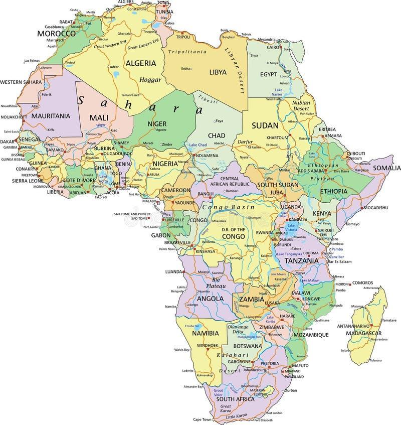 África - mapa político editable altamente detallado libre illustration