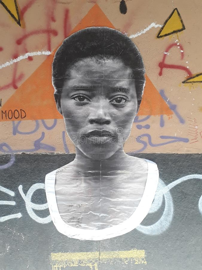 África na aleia de Genoa: uma colagem particular imagens de stock