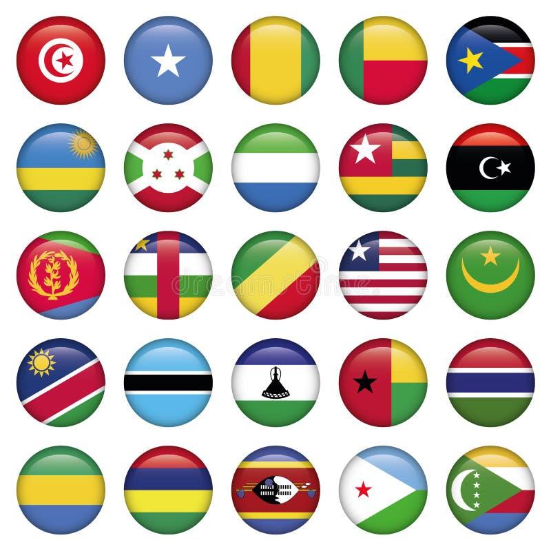 África señala por medio de una bandera alrededor de los botones stock de ilustración