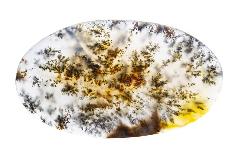 Ágata natural hermosa aislada en el fondo blanco fotos de archivo