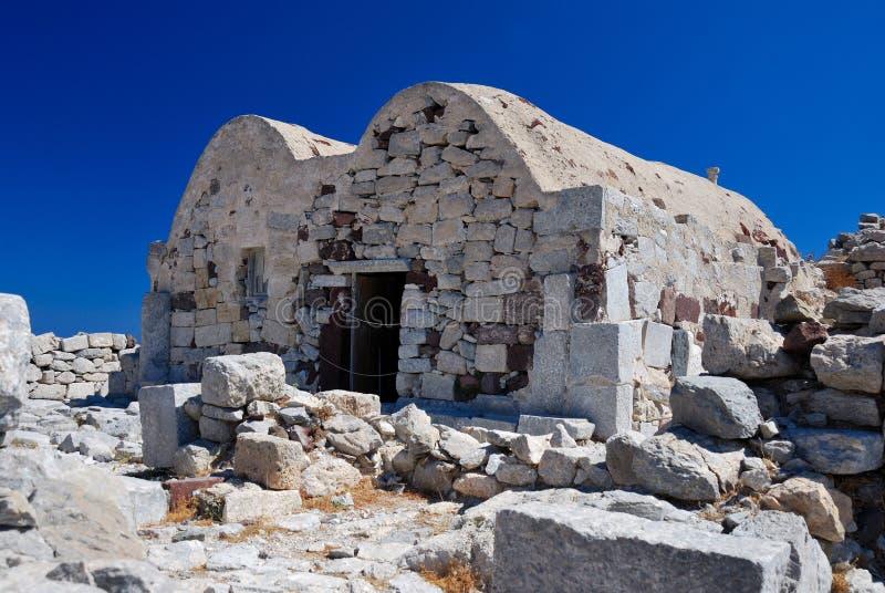 Ágios Stefanos em Thira antigo, Santorini fotos de stock royalty free