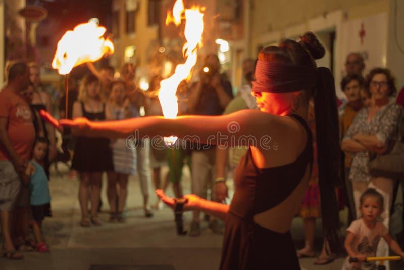 Ágnes Györe Blindfolded Fire Performance @ Gallery Rigo (exhibition Opening) Free Public Domain Cc0 Image