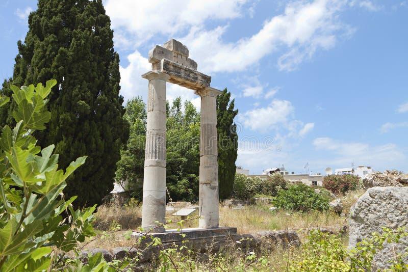 A ágora antiga na ilha de Kos em Grécia foto de stock