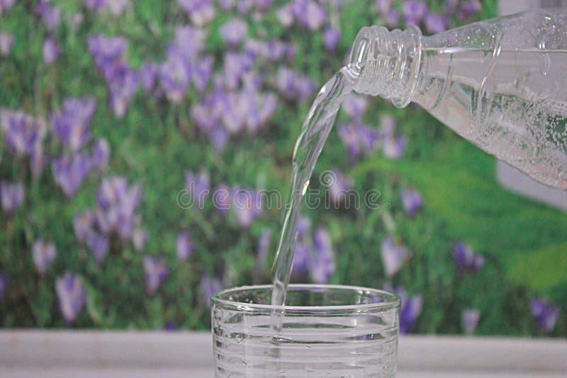 A água é derramada em um vidro imagem de stock