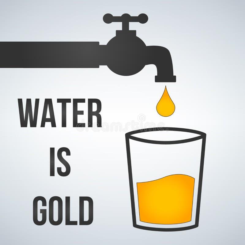 A água é ouro Torneira de água e ícone do vidro, ilustração isolada no branco motivator ilustração do vetor