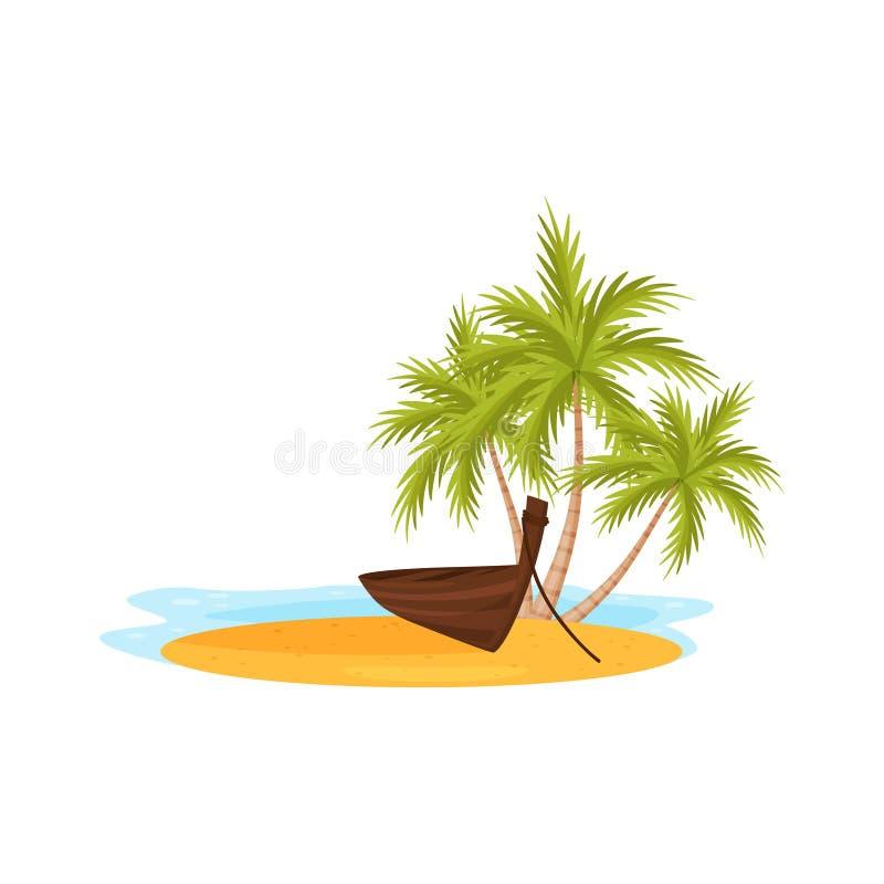 Água azul do oceano, palmeiras verdes e barco de madeira tradicional na areia Curso a Bali, Indonésia Projeto liso do vetor ilustração royalty free