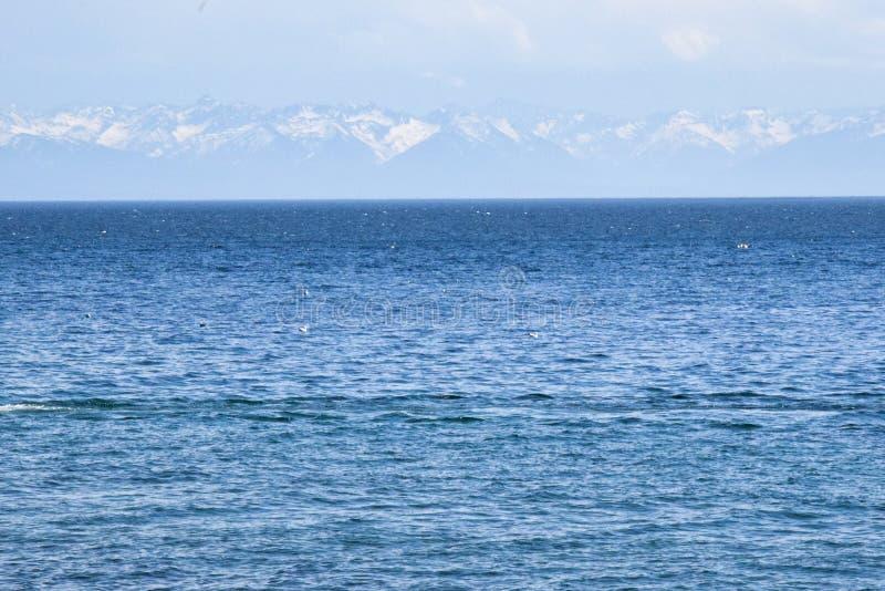 Água azul e montanhas do Lago Baikal Rússia fotos de stock royalty free