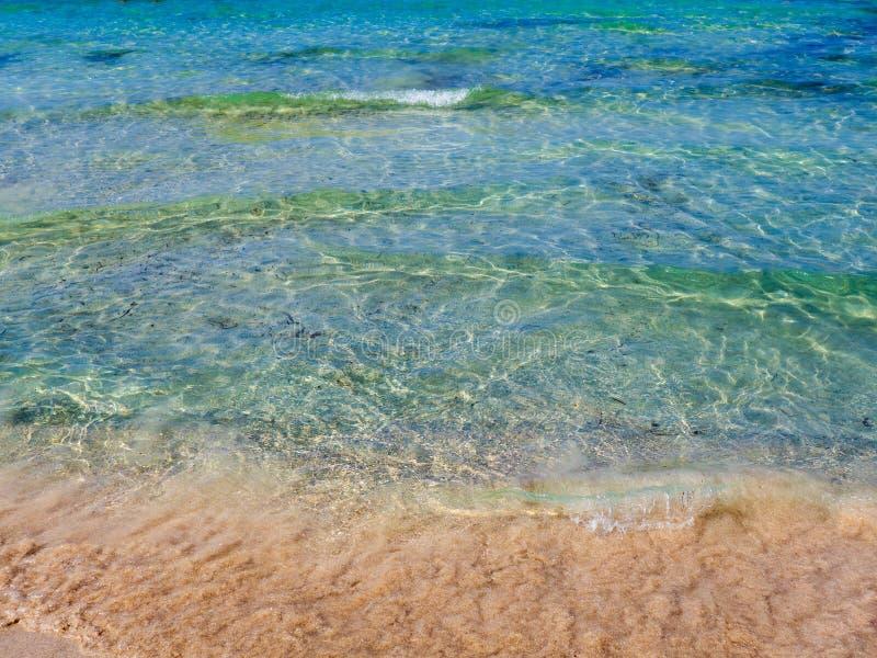 ?gua azul e Sandy Beach dos azuis celestes claros fotografia de stock royalty free
