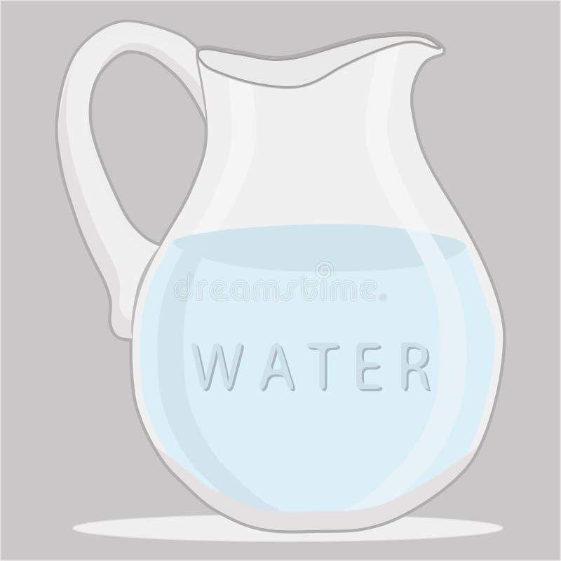 Água azul no jarro ilustração do vetor