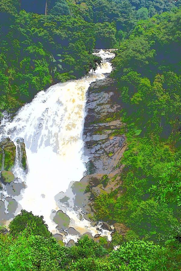 Água branca leitosa de jorro - cachoeiras enormes na floresta grossa - ilustração ilustração royalty free