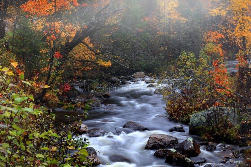 A água cai em Vermont rural no tempo do outono fotos de stock