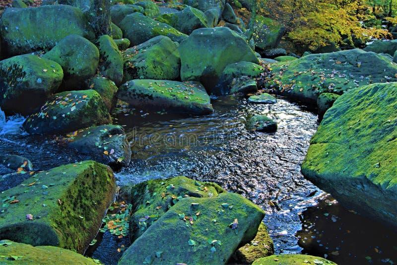 Água cintilando no ribeiro de Burbage, perto do desfiladeiro de Padley, Grindleford, East Midlands fotos de stock