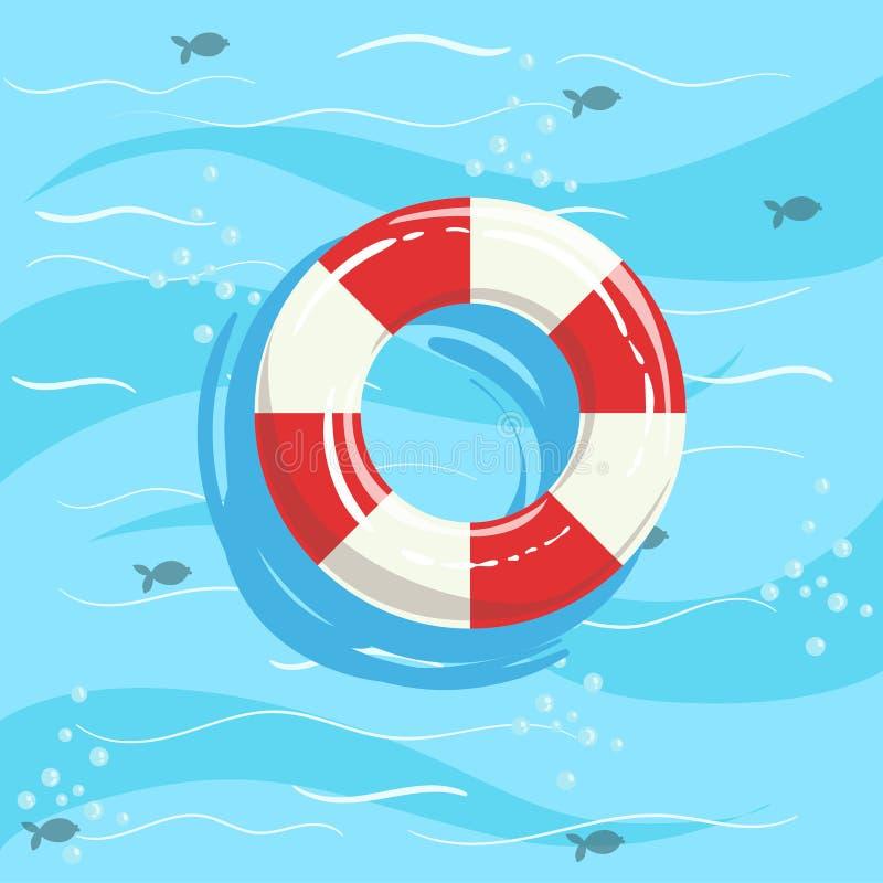 Água clássica de Ring Buoy With Blue Sea do conservante de vida no fundo ilustração do vetor