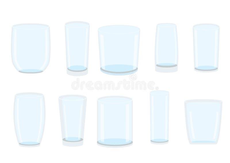 Água clara bebendo de vidro vazia isolada ilustração stock